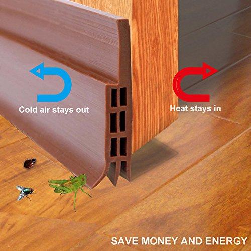 Brown Door Sweep (Door Bottom Seal Strip Under Door Sweep Weather Stripping Energy & Money Saving Under Door Draft Stopper 2