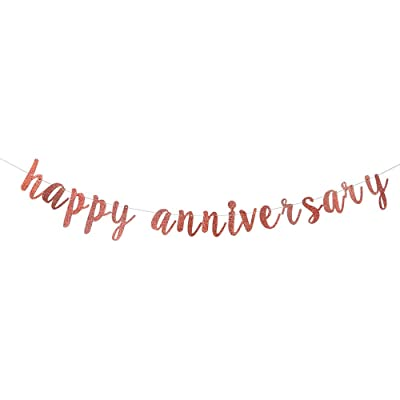 Happy Anniversary Banner for Birthday/Wedding Anniversary Party Decoration Supplies(Rose Gold Glitter): Kitchen & Dining