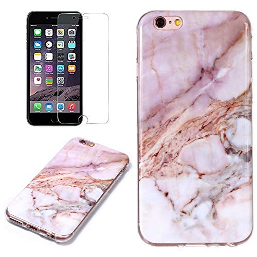 ne SE Marble Case with Screen Protector,Unique Pattern Design Skin Ultra Thin Slim Fit Soft Gel Silicone Case,QFFUN Shockproof Anti-Scratch Protective Back Cover - Pink ()