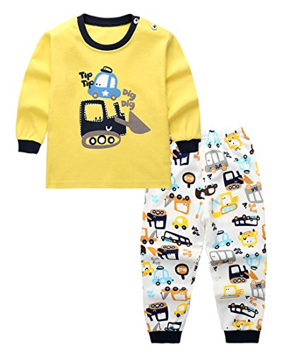 Unisex Baby Boys Girls 2-Piece Cotton Pajama Sleepwear Outfits Set(3-4 Years,Cars) - Kid 2 Piece Pjs