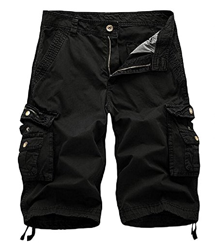 AOYOG Men's Solid Multi-Pocket Cargo Shorts Casual Slim Fit Cotton Solid Camo Shorts, Black #082, Lable size 40(US 38)