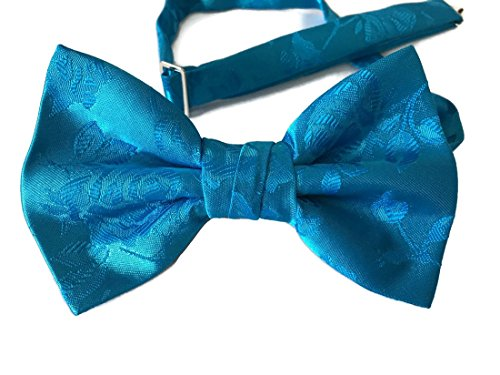 Men's Bow Tie Pre-tied Rose Satin Jacquard (Boys, Turquoise) from Holiday Bow Ties