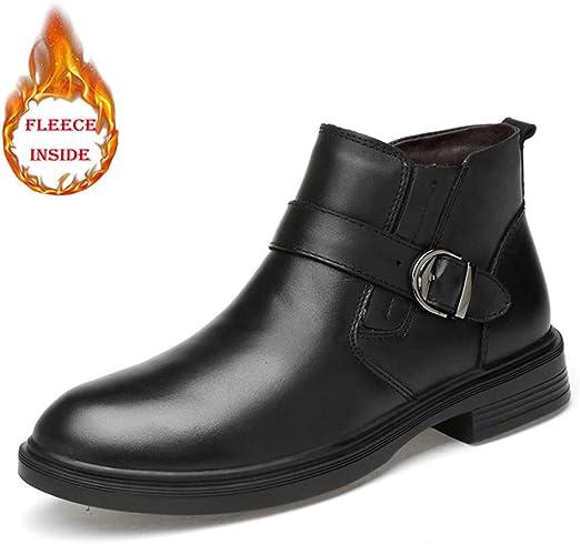 HILOTU Botines de Hombre Zapatos de tacón Alto Correa de Monje ...