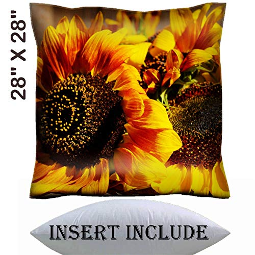 MSD 28x28 Throw Pillow Cover with Insert - Satin Polyester Pillow Case Decorative Euro Sham Cushion for Couch Bedroom Handmade Image ID 32455065 Beautiful Sunflowers on Wooden Bench Outdoors