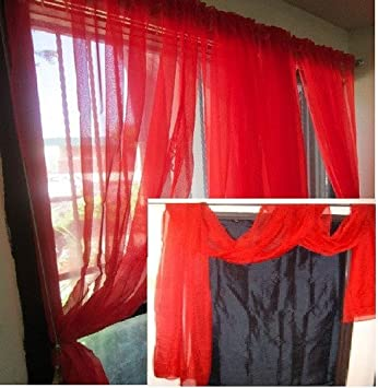 Red Curtains amazon red curtains : Amazon.com: MONAGIFTS BRIGHT RED Scarf Voile Window Panel Solid ...