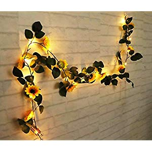 String Fairy Lights With Sunflowers Led Lighted Fall Autumn Pumpkin Maple Leaves Garland Decor, 1.8M Artificial Silk Flowers Fall Decor 2