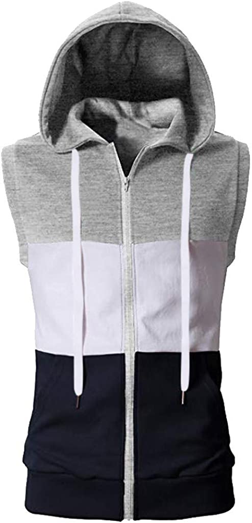 Fashion Summer Casual Mixing Colour Zip Hooded Sleeveless Vest Top Blouse IMJONO Tank Tops for Men