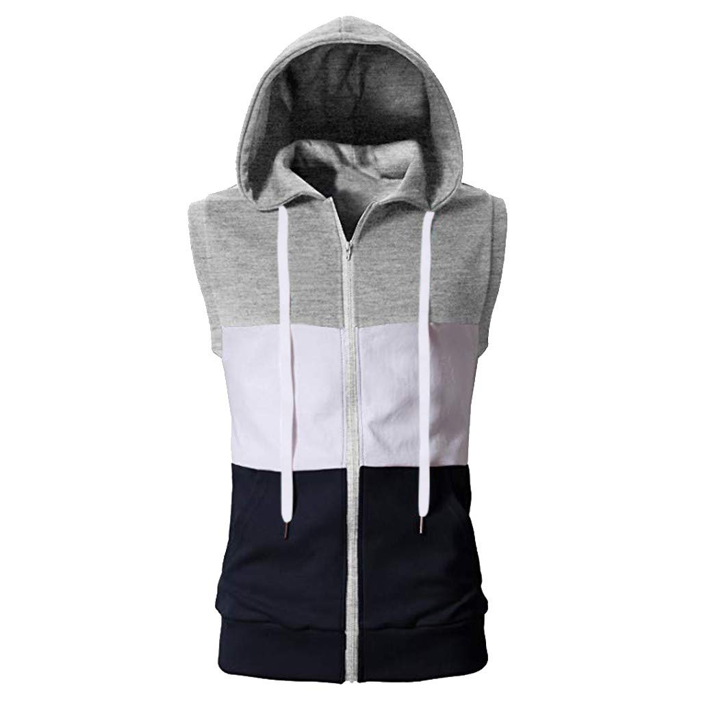Willow S Fashion Tops Mens Summer Casual Sleeveless Mixing Colour Block Zip Hooded Vest Sport Blouse Shirt