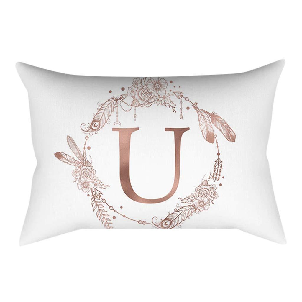 POPLY Coussin en Polyester Simple Lettre avec Poudre Dor/é Rose Est Une Taie doreiller C/âlin 30x50 cm