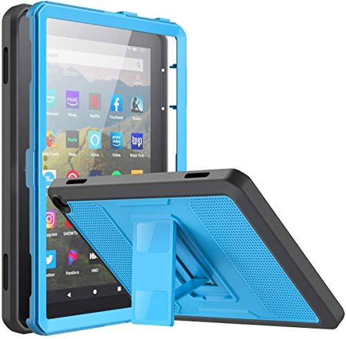 MoKo Case Fits All-New Kindle Fire HD 8/Fire HD 8 Plus Tablet(10th Generation, 2020 Release), Dual-Layer Shell Full Body Rugged TPU + PC Stand Back Cover Built-in Screen Protector, Blue & Dark Gray