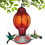 Grateful Gnome - Hummingbird Feeder - Hand Blown Glass - Red Lantern with Round Top