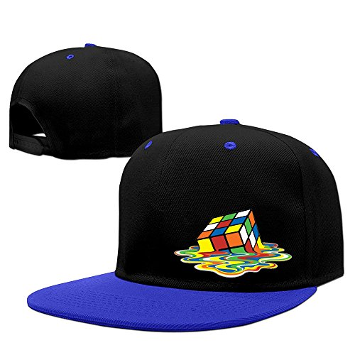 (PCY Casual Flat Billed Rubik's Cube Colors Baseball Headwear RoyalBlue)