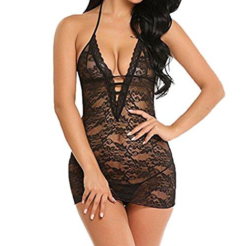 Laimeng_world Women Lace Lingerie Set Halter Nightwear Teddy Dress Strappy Mini Babydoll (Black, L) -