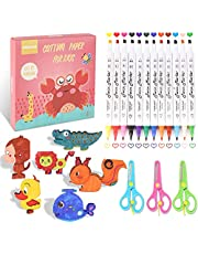 Scissor Skills Activity Kit for Kids-40 3D Cutting Papers, 12 Colored Markers, 3 Safety Scissors-Paint, Cut and Fold Cute Animals, Insects and More-Improves Fine Motor Skill -Kids Scissors Ages 3-8