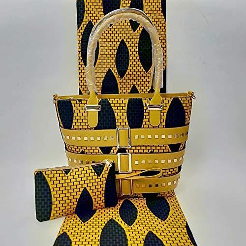 6 Yards Real Hollandais Wax Fabric with Fashion Woman Wax Handbag (Style6)