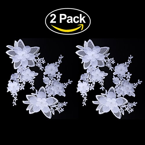 Shevalues 2Pcs White Rhinestone Floral Corded Embroidery Lace Applique (White Lace Floral Applique)