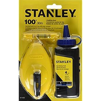 Stanley 47-443 3 Piece Chalk Box Set - 4-Ounce bottle Blue Stanley Chalk & Plastic Line Level