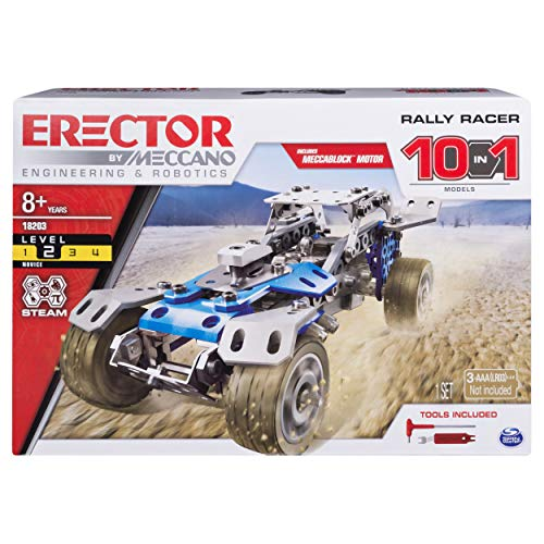 Meccano Rally Racer 10-in-1 Building Kit, 159 Parts, STEM Engineering Education Toy for Ages 10 and Up ()