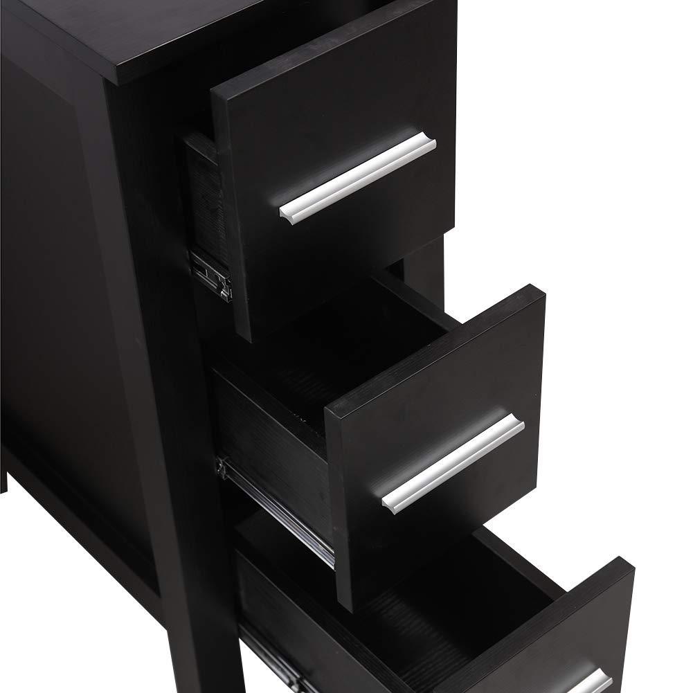 KINGRAN 12 Modern Bathroom Vanity MDF Cabinet,Black Color