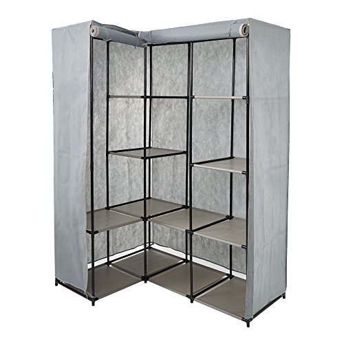 Dporticus Portable Corner Clothes Closet Wardrobe Storage Or