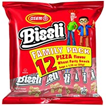 Bissli Pizza Flavored Crunchy Wheat Snack Perfect Lunch Snack for Kids & Adults Family Pack of 12 1.23oz Bags (4 Family Packs)