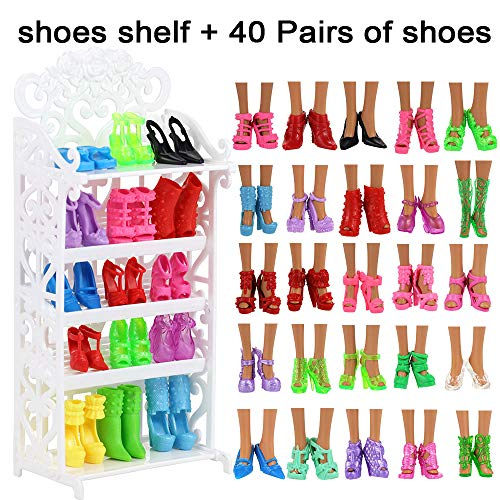 BARWA 40 Pairs Shoes Different High Heel Boots Accessories Shoes Shelf Rack for 11.5 Inch Girl Doll Playset Closet