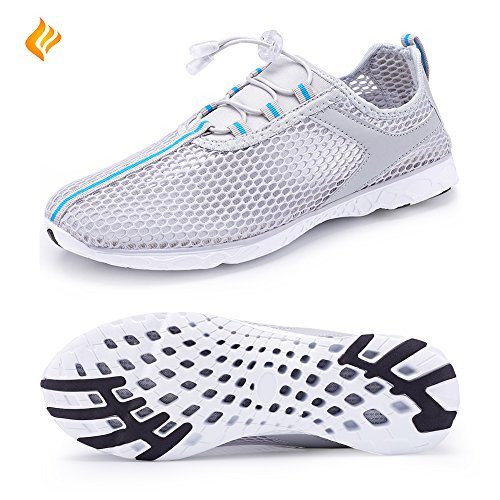 FANTINY Aqua Water Shoes Quick Drying Lightweight Mesh Slip-on athletic sport casual Sneakers For Men and Women,XLSX01,02Grey--40
