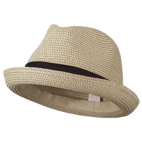 Men's Fedora with Paper Straw Braid - Beige L ()