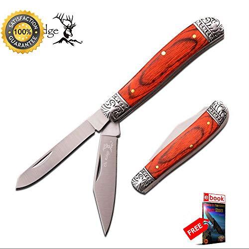Aztec Trapper - FOLDING POCKET Sharp KNIFE Elk Ridge Light Wood Hunting Trapper 2 Blade ER-220GW Combat Tactical Knife + eBOOK by Moon Knives