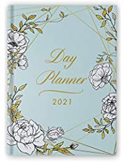 """Day Planner 2021 Large: 8.5"""" x 11"""" - 1 Page per Day Planner - Floral Hardcover - January - December 2021 - Dated Planner 2021 Productivity, XXL Planner, Daily & Monthly"""