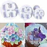 9Snail 3 Pcs/Set Hydrangea Fondant Cake Decorating Sugar Craft Plunger Cutter Flower Blossom Mold