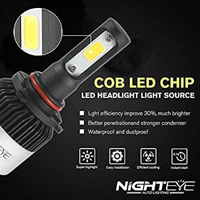 H1 H4 H7 H11 Car LED Headlight Bulbs, Nighteye A315 80W 9000LM 6000K Cool White IP68 Waterproof CSP LED Chip Automotive Light Bulbs All-in-one Conversion Kit - 3 Year Warranty (pack of 2) (9005/HB3): Automotive