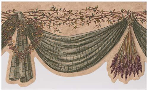 - Olive Green Curtain Wreath Berries on Vine Vintage Wallpaper Border Retro Design, Roll 15' x 8