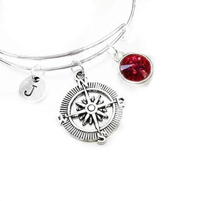 Amazon.com: Swarovski Crystal Birth Stone with Compass & Initial ...