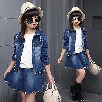 MV Autumn Girls Denim Pearl Set Children's Clothing Korean Version Short Skirt Suit