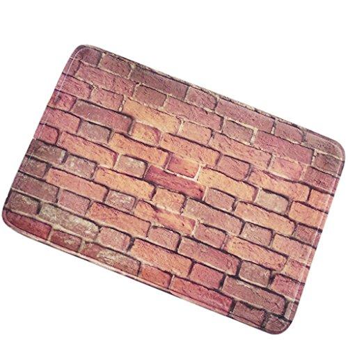 ChezMax Non-Slip Doormat Coral Fleece Indoor Outdoor Kitchen Floor Rug Front Door Mat Funny Flannel Carpet Red Brick Wall 23.62