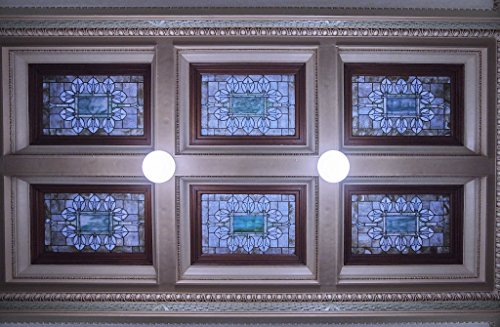 Photograph | Original stained glass skylights in the ceiling above the third floor of the Mississippi State Capitol in Jackson| Fine Art Photo Reporduction 44in x 30in