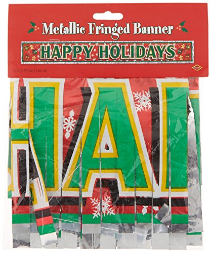 Metallic Happy Holidays Fringe Banner Party Accessory (1 count) ()