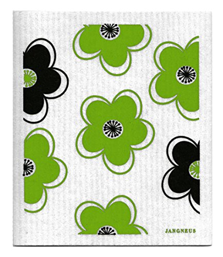 Swedish Dishcloth, Set of 4 (BG) Black & Green Plants Designs by Trendy Tripper (Image #4)