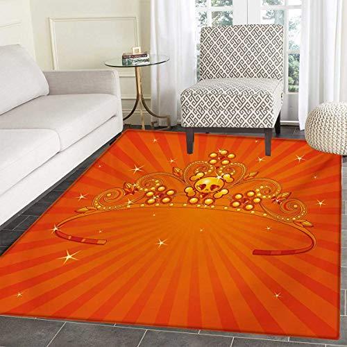 Queen Door Mats Home Fancy Halloween Princess Crown Little Skull Daisies on Radial Orange Backdrop Stars Bath Mat Bathroom Mat Non Slip 36