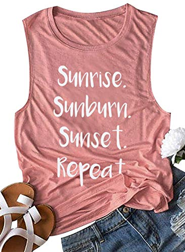 Ladies Halloween Shirts - BANGELY Sunrise Sunburn Sunset Repeat Tank