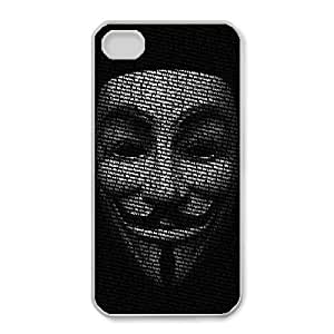Unique Design Cases iPhone 4,4S Cell Phone Case Black red revolution v for vendetta Ptqyg Printed Cover Protector