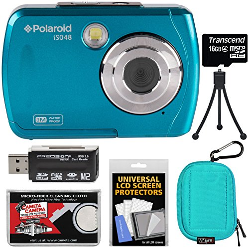 Polaroid iS048 Waterproof Digital Camera (Teal) with 16GB Card + Case + Mini Tripod + Kit