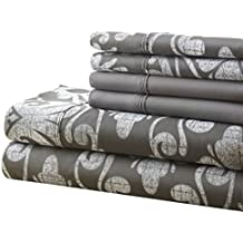 Spirit Linen, Inc Hotel 5th Ave Twin Grey Damask 4 Piece Bellagio Home Collection Sheet Set