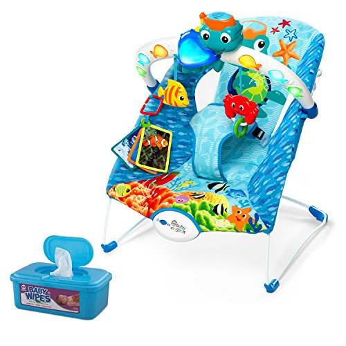 Baby Einstein Neptune Light and Sound Activity Bouncer with Hypoallergenic Baby Wipes by MegaMarketing