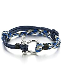 Mens Womens Steel Screw Anchor Shackles Nautical Sailor Rope Cord Leather Wrap Bracelet Wristband