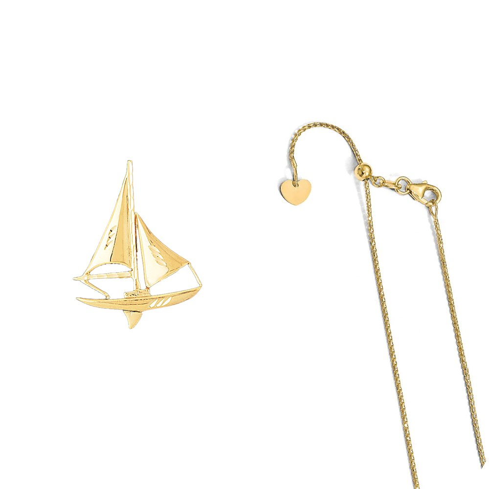 14K Yellow Gold Sailboat Pendant on an Adjustable 14K Yellow Gold Chain Necklace