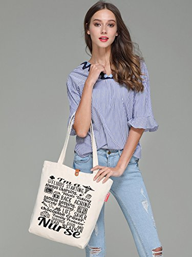 Tote Canvas 10L 38cm A Nurse Bag So'each Beach Print I'm amp; Words Beige wtxqvdp6