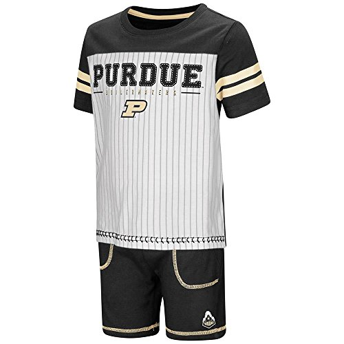 Set Boilermaker College (Toddler Purdue Boilermakers Pinstripe Tee Shirt and Shorts Set - 4T)