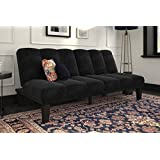 DHP Hamilton Estate Premium Futon Sofa Sleeper, Comfortable Plush Microfiber Upholstery, Rich Black